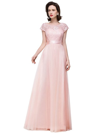 Lace Tulle A-line Scoop Neck Floor-length with Sashes / Ribbons Bridesmaid Dresses #PWD01013439