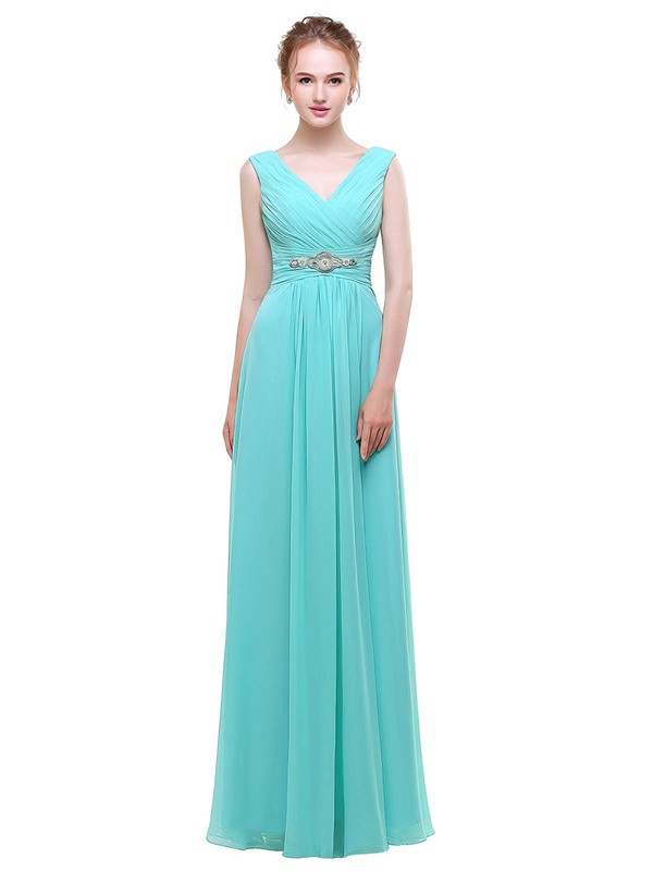 Chiffon A-line V-neck Floor-length with Beading Bridesmaid Dresses #PWD01013440