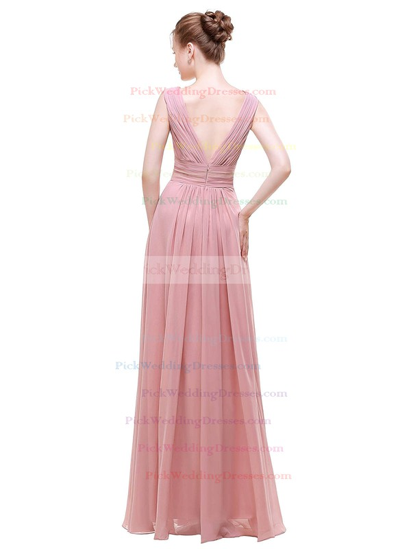 Chiffon A-line V-neck Floor-length with Beading Bridesmaid Dresses #PWD01013441