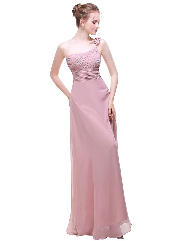 Chiffon A-line One Shoulder Floor-length with Flower(s) Bridesmaid Dresses #PWD01013442