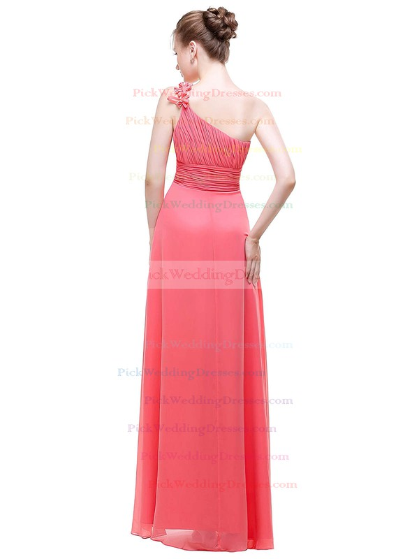 Chiffon A-line One Shoulder Floor-length with Flower(s) Bridesmaid Dresses #PWD01013443