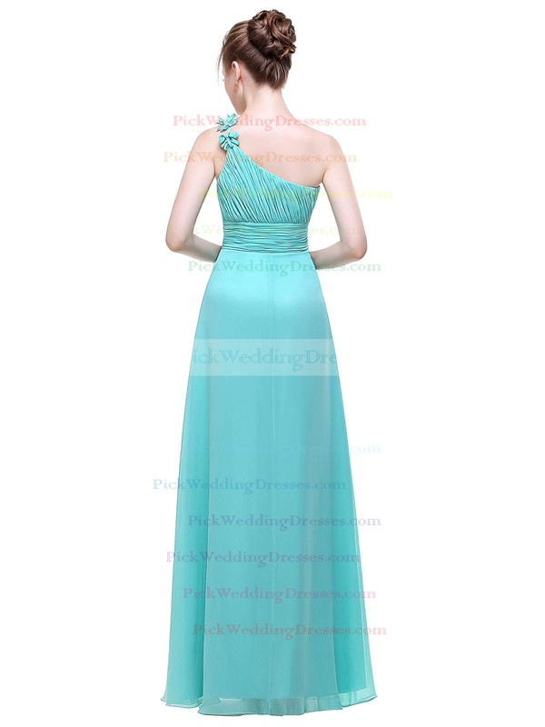 Chiffon A-line One Shoulder Floor-length with Flower(s) Bridesmaid Dresses #PWD01013444