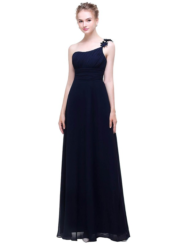 Chiffon A-line One Shoulder Floor-length with Flower(s) Bridesmaid Dresses #PWD01013445