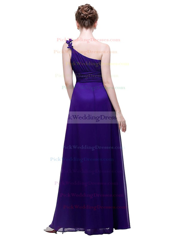 Chiffon A-line One Shoulder Ankle-length with Flower(s) Bridesmaid Dresses #PWD01013446
