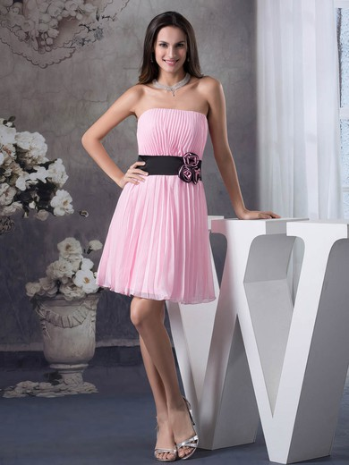A-line Short/Mini Chiffon Pleats Strapless Bridesmaid Dresses #PWD01011697