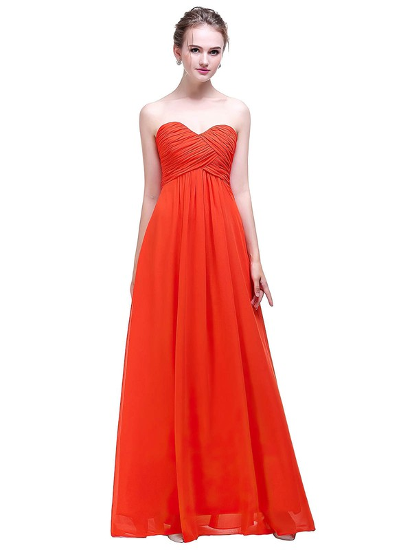 Chiffon Empire Sweetheart Floor-length with Ruffles Bridesmaid Dresses #PWD01013450