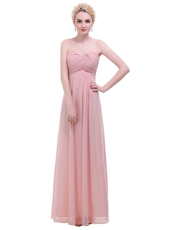 Chiffon Empire Sweetheart Floor-length with Ruffles Bridesmaid Dresses #PWD01013455