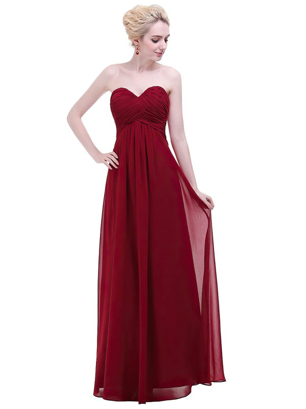 Chiffon Empire Sweetheart Floor-length with Ruffles Bridesmaid Dresses #PWD01013456