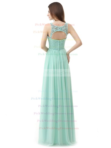 Chiffon A-line Scoop Neck Floor-length with Lace Bridesmaid Dresses #PWD01013459