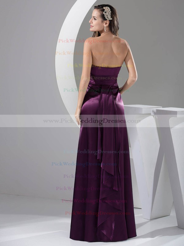 A-line Floor-length Elastic Woven Satin Ruched Strapless Bridesmaid Dresses #PWD02013052