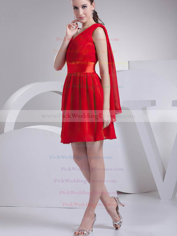 A-line Short/Mini Chiffon Ruffles V-neck Bridesmaid Dresses #PWD02041451