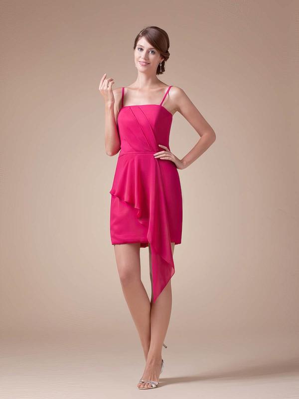 Sheath/Column Short/Mini Chiffon Ruched Spaghetti Straps Bridesmaid Dresses #PWD02041608
