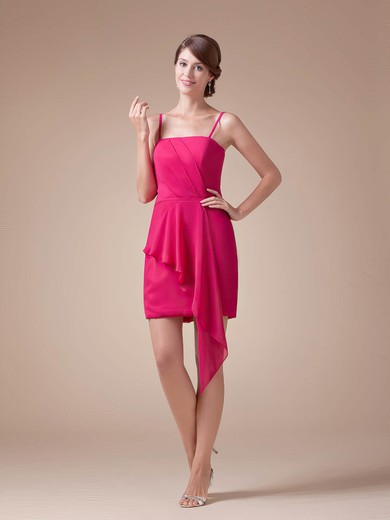 Sheath/Column Short/Mini Chiffon Ruched Spaghetti Straps Bridesmaid Dresses #PWD02041608