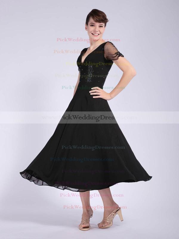 A-line Tea-length Chiffon Beading V-neck Bridesmaid Dresses #PWD02042146