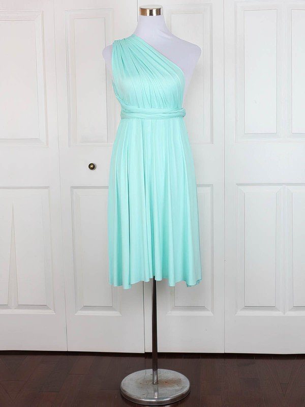 Jersey One Shoulder Short/Mini A-line with Ruffles Bridesmaid Dresses #PWD01013128