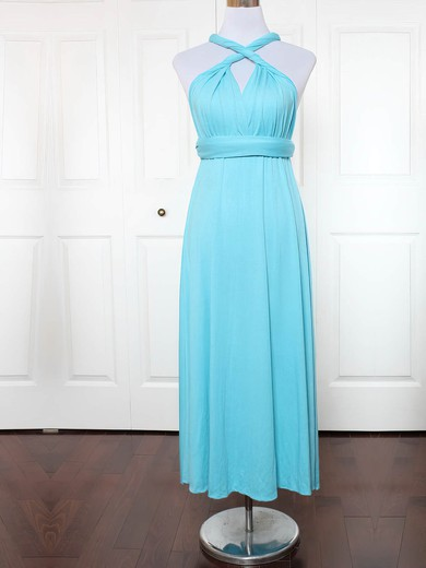 Jersey V-neck Ankle-length A-line with Ruffles Bridesmaid Dresses #PWD01013130