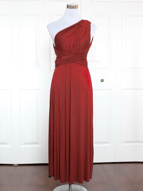 Jersey One Shoulder Ankle-length A-line with Ruffles Bridesmaid Dresses #PWD01013131