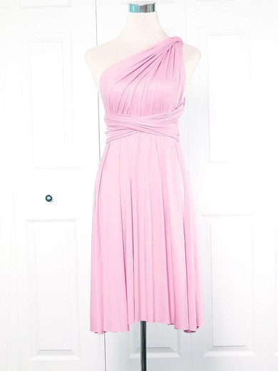 Jersey One Shoulder Short/Mini Empire with Ruffles Bridesmaid Dresses #PWD01013133
