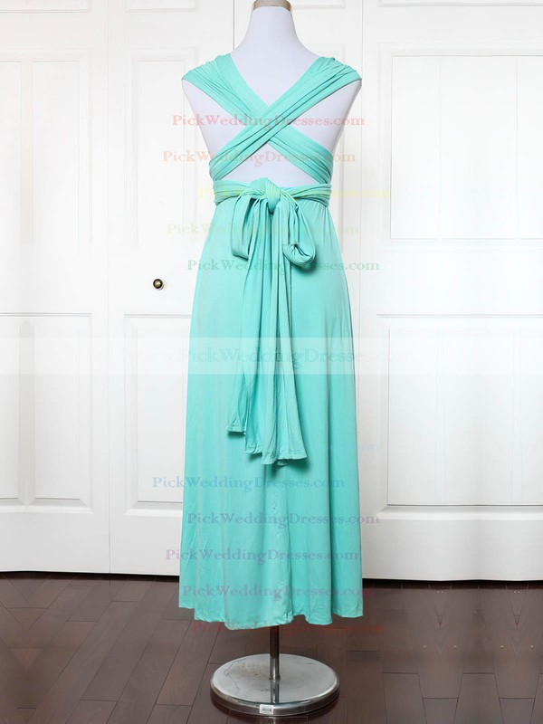 Jersey V-neck Ankle-length Empire with Ruffles Bridesmaid Dresses #PWD01013135