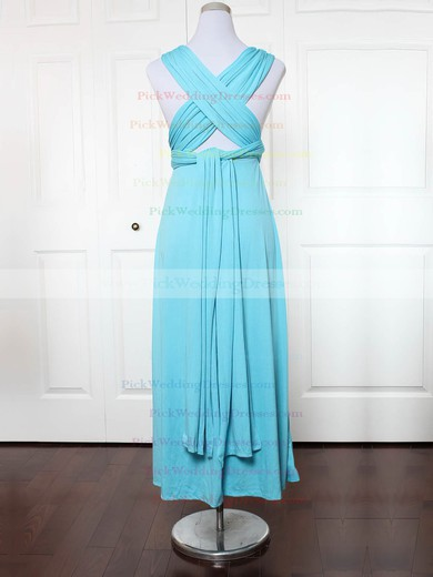 Jersey V-neck Ankle-length A-line with Ruffles Bridesmaid Dresses #PWD01013136