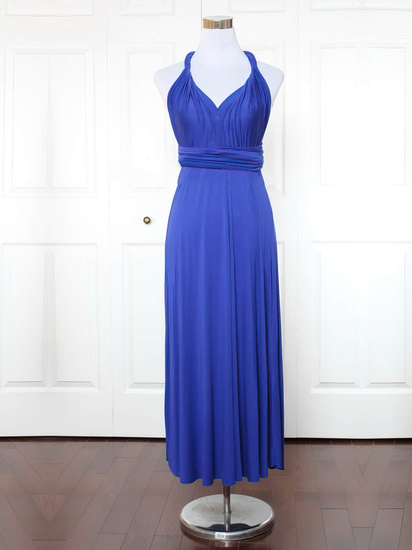 Jersey V-neck Ankle-length A-line with Ruffles Bridesmaid Dresses #PWD01013137