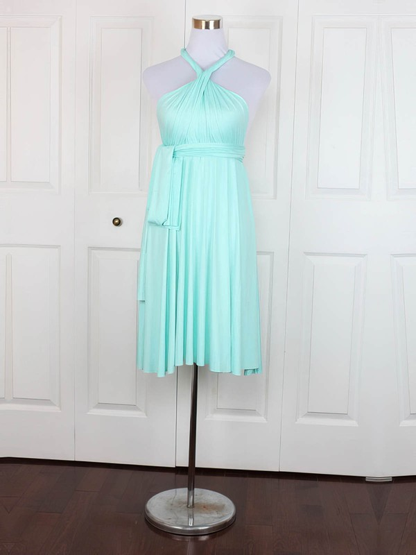 Jersey V-neck Short/Mini Empire with Ruffles Bridesmaid Dresses #PWD01013138