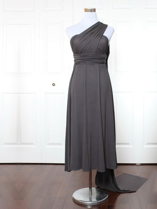 Jersey One Shoulder Ankle-length Empire with Ruffles Bridesmaid Dresses #PWD01013139