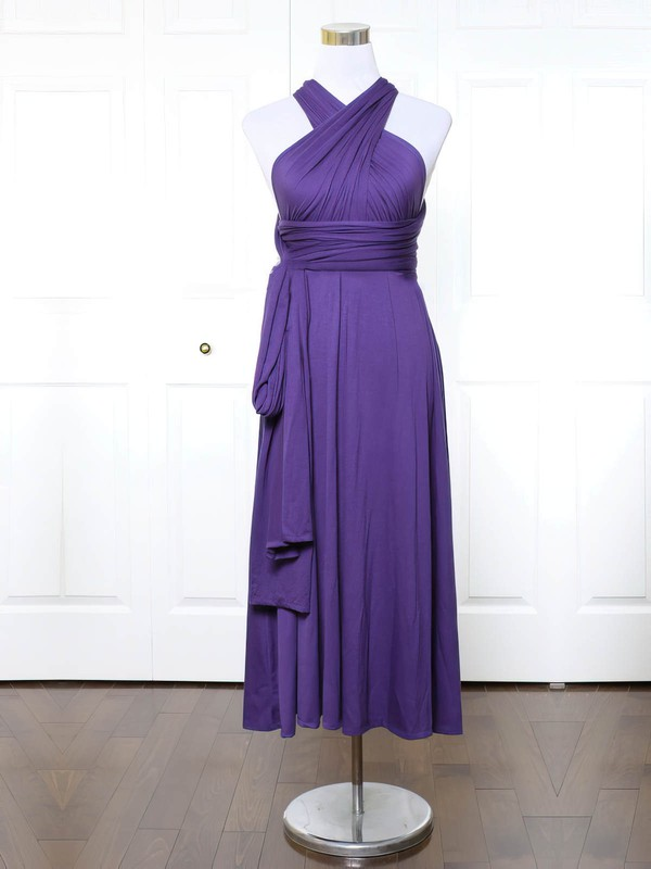 Jersey V-neck Ankle-length A-line with Ruffles Bridesmaid Dresses #PWD01013140