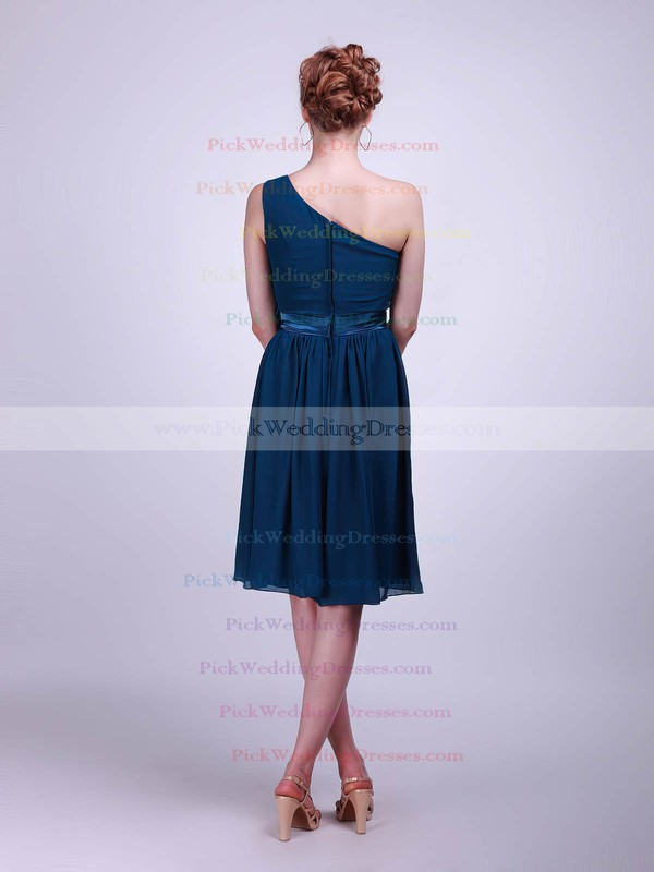 A-line Knee-length Chiffon Flower(s) One Shoulder Bridesmaid Dresses #PWD02013613