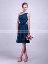 A-line Knee-length Chiffon Flower(s) One Shoulder Bridesmaid Dresses #PWD02013613