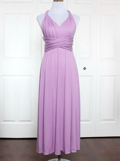 Jersey V-neck Ankle-length A-line with Ruffles Bridesmaid Dresses #PWD01013146