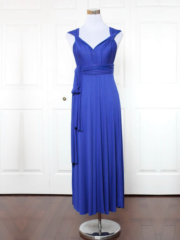 Jersey V-neck Ankle-length A-line with Ruffles Bridesmaid Dresses #PWD01013148