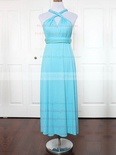 Jersey V-neck Ankle-length A-line with Ruffles Bridesmaid Dresses #PWD01013150