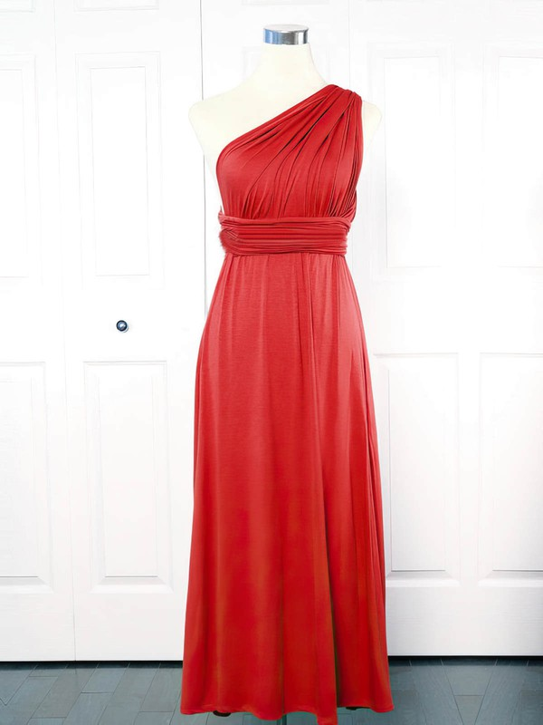 Jersey One Shoulder Ankle-length Empire with Ruffles Bridesmaid Dresses #PWD01013151