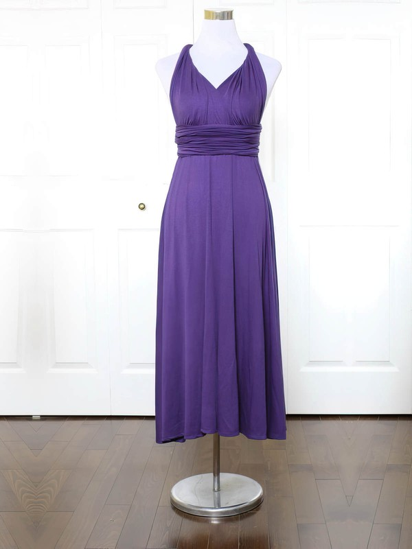 Jersey V-neck Ankle-length A-line with Ruffles Bridesmaid Dresses #PWD01013152