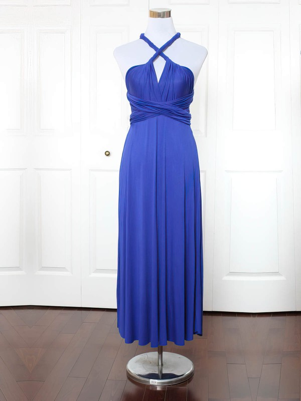 Jersey V-neck Ankle-length A-line with Ruffles Bridesmaid Dresses #PWD01013153