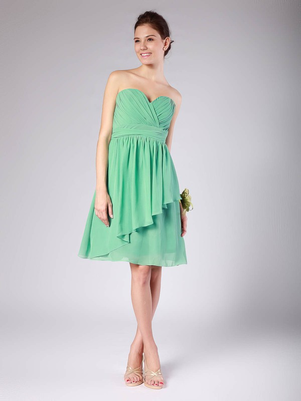 A-line Knee-length Chiffon Pleats Sweetheart Bridesmaid Dresses #PWD02013615