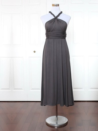 Jersey V-neck Ankle-length A-line with Ruffles Bridesmaid Dresses #PWD01013155