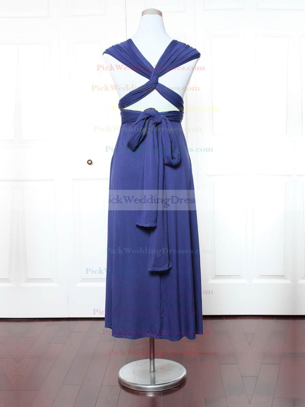 Jersey V-neck Ankle-length A-line with Ruffles Bridesmaid Dresses #PWD01013158