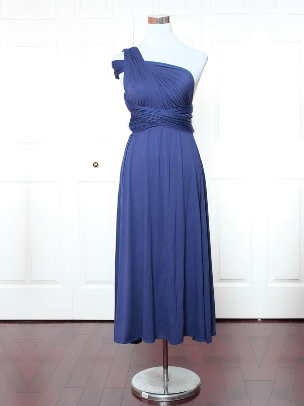 Jersey One Shoulder Ankle-length A-line with Ruffles Bridesmaid Dresses #PWD01013159