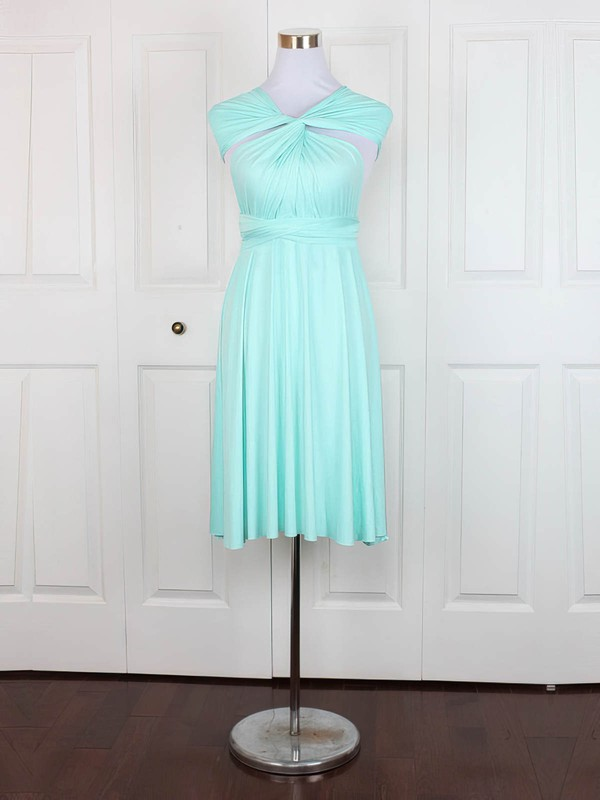 Jersey V-neck Short/Mini A-line with Ruffles Bridesmaid Dresses #PWD01013160