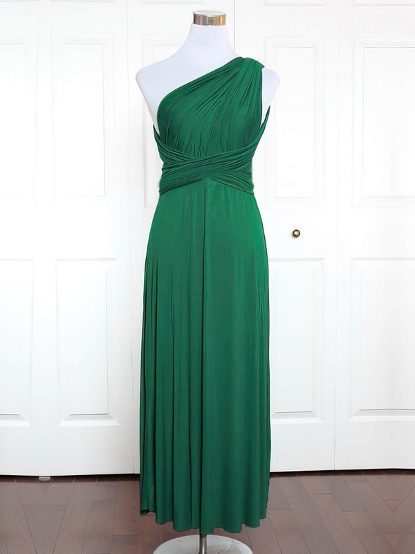 Jersey One Shoulder Ankle-length A-line with Ruffles Bridesmaid Dresses #PWD01013162