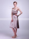 A-line Tea-length Satin Sashes/Ribbons One Shoulder Bridesmaid Dresses #PWD02013625