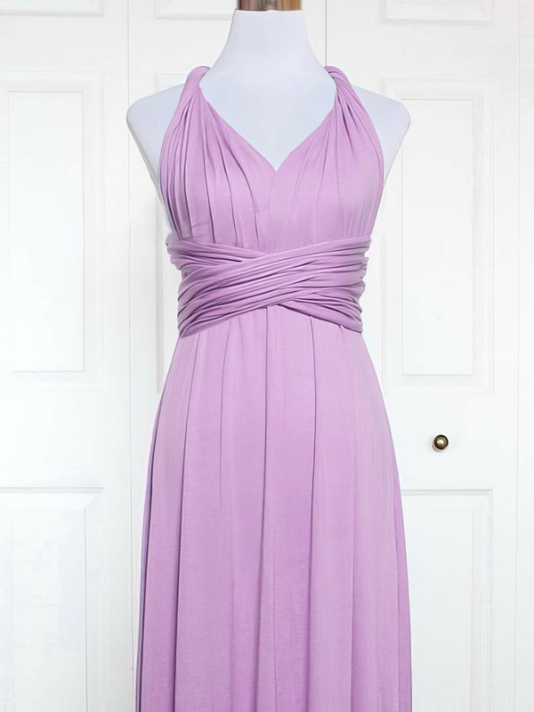 Jersey V-neck Knee-length A-line with Ruffles Bridesmaid Dresses #PWD01013164