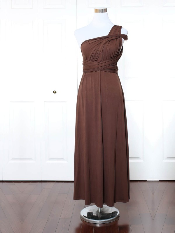 Jersey One Shoulder Ankle-length A-line with Ruffles Bridesmaid Dresses #PWD01013165