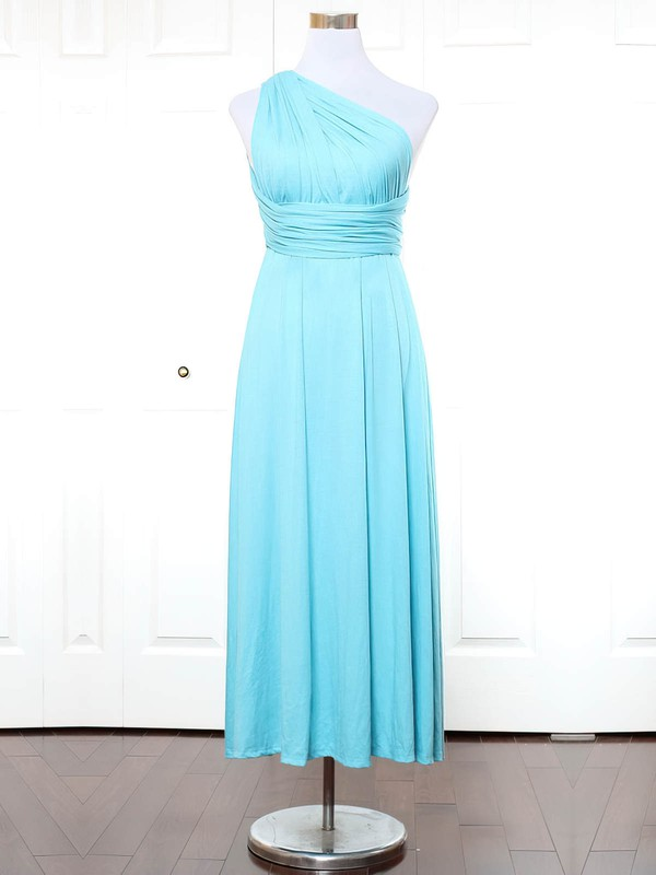 Jersey One Shoulder Ankle-length A-line with Ruffles Bridesmaid Dresses #PWD01013166