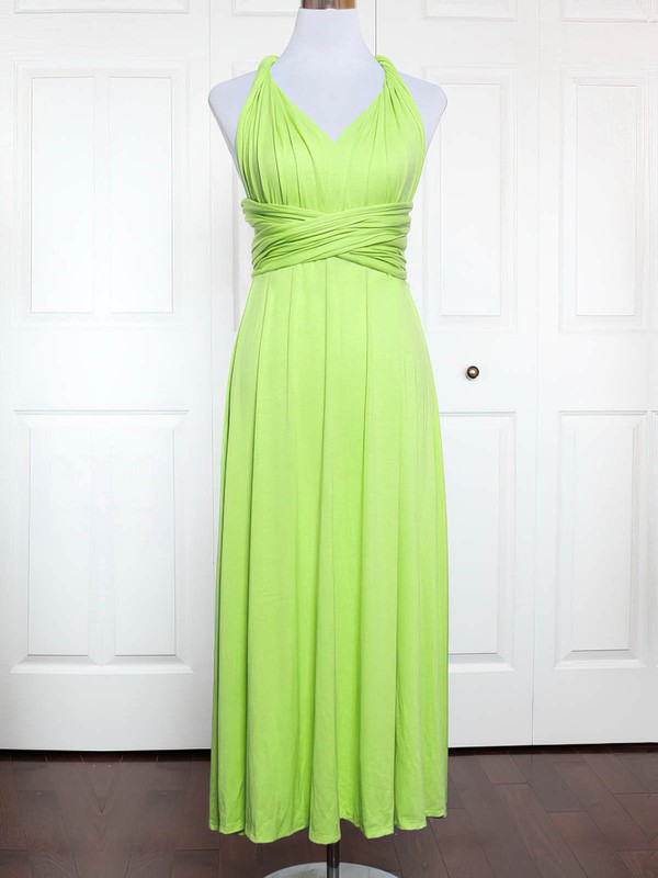 Jersey V-neck Ankle-length A-line with Ruffles Bridesmaid Dresses #PWD01013167