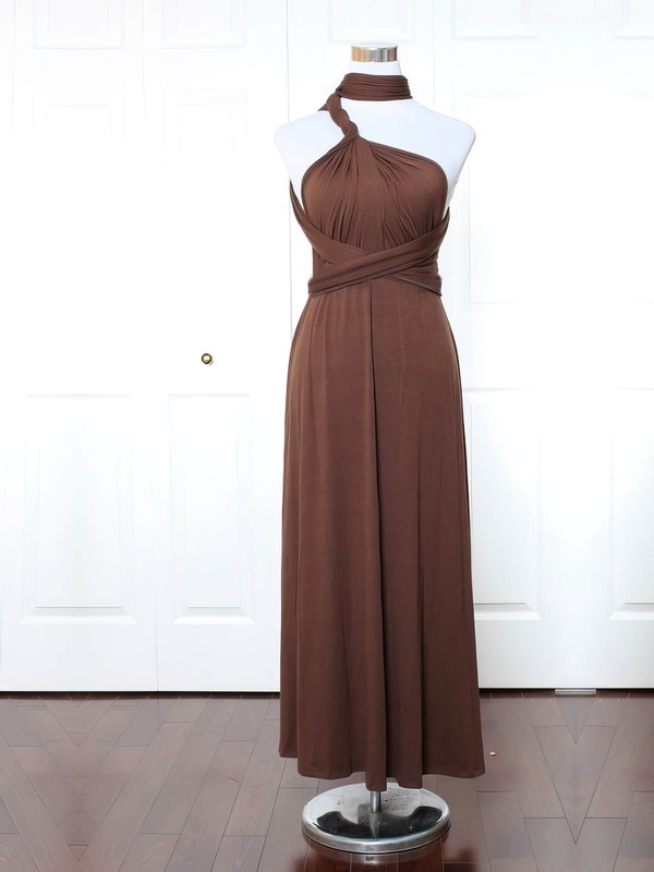 Jersey High Neck Ankle-length A-line with Ruffles Bridesmaid Dresses #PWD01013169