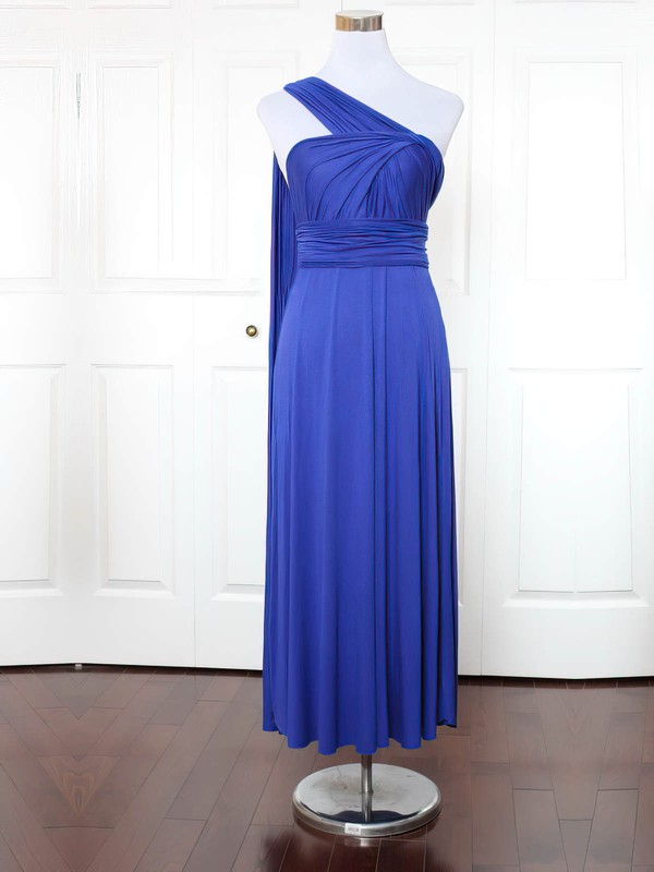 Jersey One Shoulder Ankle-length A-line with Ruffles Bridesmaid Dresses #PWD01013171
