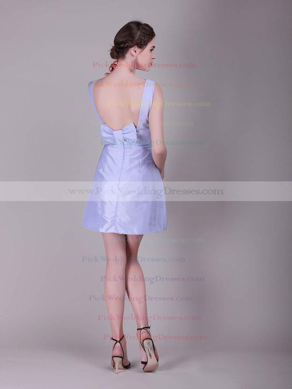 A-line Short/Mini Satin Bow Bateau Bridesmaid Dresses #PWD02013638